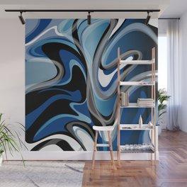 Liquify in Denim, Navy Blue, Black, White // Version 2 Wall Mural