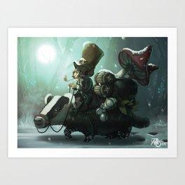 gnomes and badger Art Print