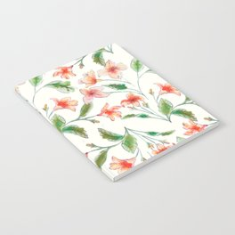 Orange Watercolor Botanical Pattern Notebook