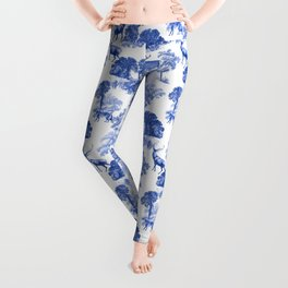 Classic French Toile Countryside Deer Pattern Leggings