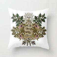 Wormwood Belladonna Hensbane And Snake Skeleton Throw Pillow