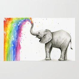 Baby Elephant Spraying Rainbow Whimsical Animals Rug