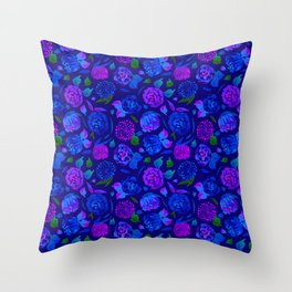 Watercolor Floral Garden in Electric Blue Bonnet Throw Pillow