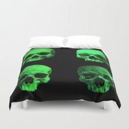 Skull quartet green Duvet Cover