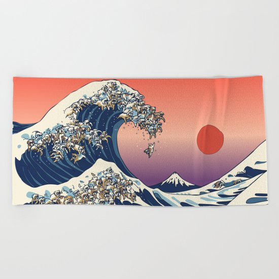 The Great Wave of English Bulldog Beach Towel