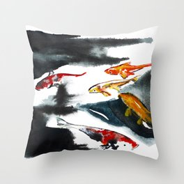Koi in the Conservatory at Swansons Nursery Throw Pillow