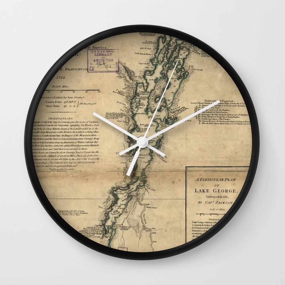 Vintage Map Of Lake Champlain Lake George 1776 Wall Clock By Bravuramedia Society6