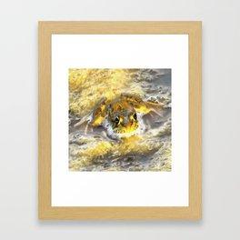 Frog In Deep Water Framed Art Print