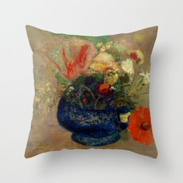 "Odilon Redon ""Flowers in a Blue Cup (Fleurs dans une coupe bleue)"" Throw Pillow"