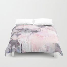 Modern Contemporary soft Pastel Pink Grey Abstract Duvet Cover