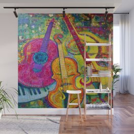ROSE GUITAR & MUSIC INSTRUMENTS PAINTING Wall Mural