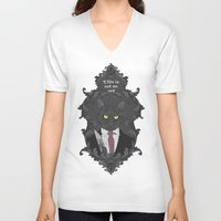 american psycho V-neck T-shirts featuring American Psycho Kitty by Elisabeth Acerbi