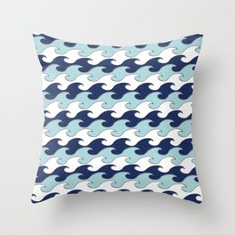 Silver Tipped Waves White Navy Baby Blue Seaside Ocean Beach Throw Pillow