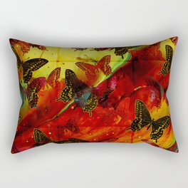 Butterflies Abstract mixed media digital art collage Rectangular Pillow
