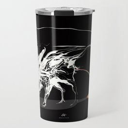 Rat and rainbow. White on dark on background - (Red eyes series) Travel Mug