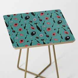 Mid-Century Modern Art Atomic Cats 1.3 Teal Pattern Side Table