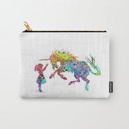 Girl and Unicorn Colorful Watercolor Kids Art Carry-All Pouch