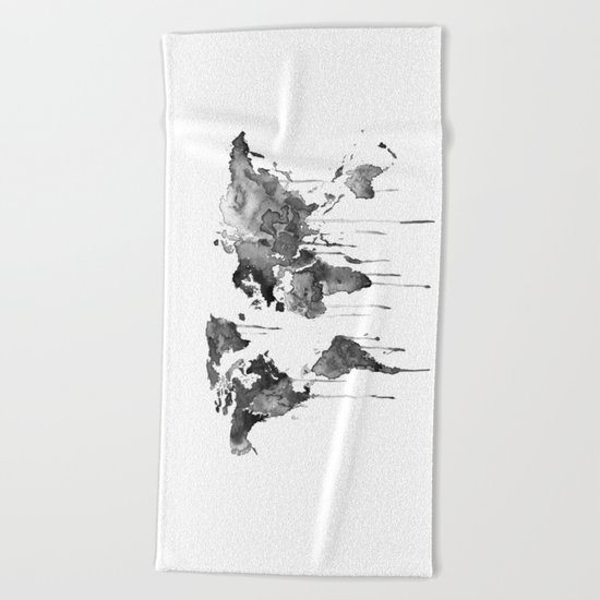 World map 2, black and white Beach Towel