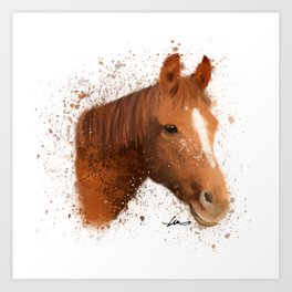 Brown and White Horse Art Print