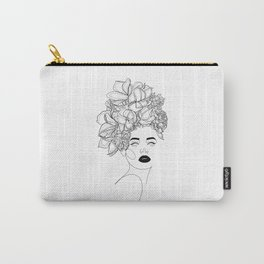 Woman with Flowers Head Lines Drawing Carry-All Pouch
