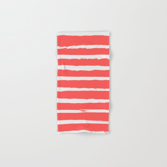 Irregular Hand Painted Stripes Coral Red Hand & Bath Towel
