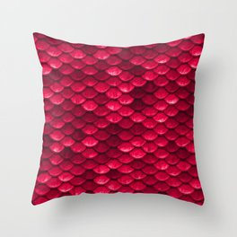 Ruby Red Mermaid Tail Scales Throw Pillow