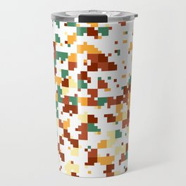Waiting for Fall - Random Pixel Pattern in Green, Orange and Yellow Travel Mug