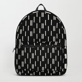 Minimal neutral offset strokes, abstract on black Backpack