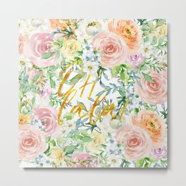 """Oh la la """" Fashionable Watercollor Floral Pattern Metal Print"""
