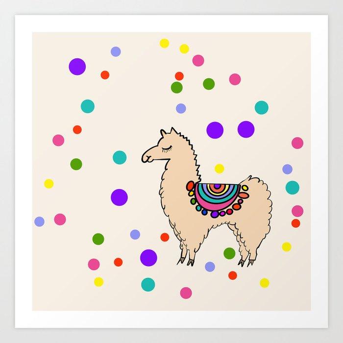 Party Llama Art Print