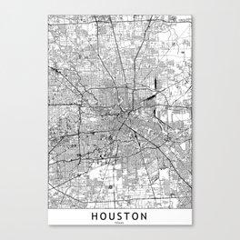 Houston White Map Canvas Print