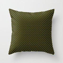 Bright Neon Yellow Lips On Black Throw Pillow