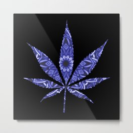 Weed : High Times Blue Floral Metal Print