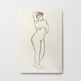 Naked woman showing her breasts IV, vintage nude illustration. Standing Female Nude by Carl Newman Metal Print
