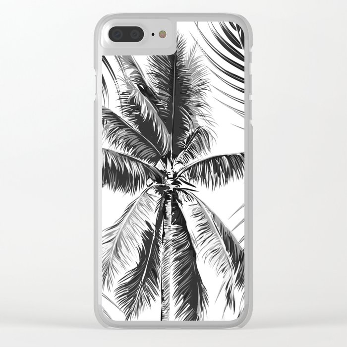 South Pacific palms II - bw Clear iPhone Case
