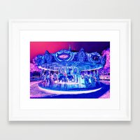 carousel Framed Art Prints featuring Carousel Merry-G0-Round Pink Purple by Whimsy Romance & Fun