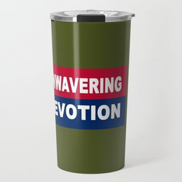 Proclaim Your Patriotism! In red, white, and blue on an army green background. Travel Mug