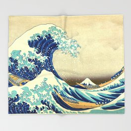 The Great Wave Off Kanagawa Katsushika Hokusai Throw Blanket