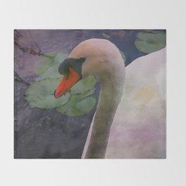 Mute Swan - Water Color Throw Blanket