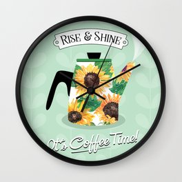Watercolor Sunflower Coffee Kettle // Rise & Shine // It's Coffee Time Quote Typography Wall Clock