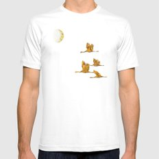 Moon-lit Flight (landscape) MEDIUM White Mens Fitted Tee
