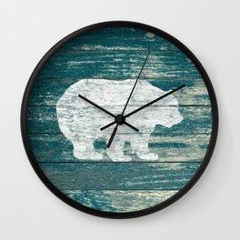 Rustic White Bear on Blue Wood Lodge Art A231b Wall Clock