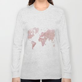 Rose Quartz World Map Long Sleeve T-shirt