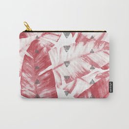 Dusty Rose Tropical Banana Leaves Arrows Design Carry-All Pouch