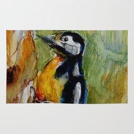 Woodpecker, mixed media drawing Rug