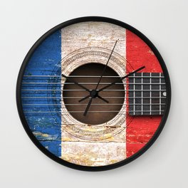 Old Vintage Acoustic Guitar with French Flag Wall Clock