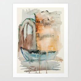 Boat in Nessebar Bay Aquarelle Art Print