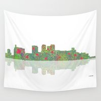 alabama Wall Tapestries featuring Birmingham, Alabama Skyline by Marlene Watson