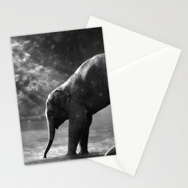 Baby elephant with mother Stationery Cards