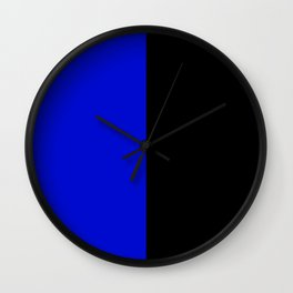 Psychedelic black and blue stripes V. Wall Clock